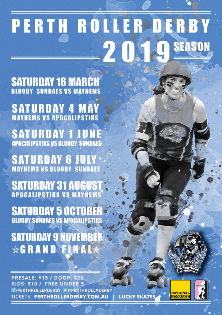 Perth Roller Derby 2019 Season dates